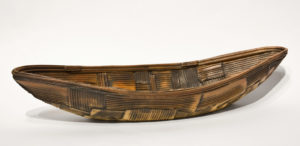 "SOLD Pieced Boat (LR-217) by Laurie Rolland hand-built ceramic - 16"" (L) x 5"" (W) $300"