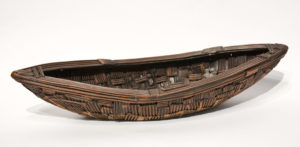 "SOLD Pieced Boat (LR-218) by Laurie Rolland hand-built ceramic – 3"" (H) x 16"" (L) x 5 1/2"" (W) $325"