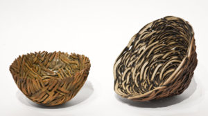 "Nest Vessels (LR-222, LR-223) by Laurie Rolland hand-built ceramic - 5"" diameter (left), 7"" diameter (right) $250 (left), $550 (right)"