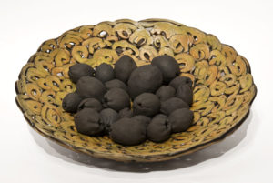 "Root Vessel with Seeds (LR-225) by Laurie Rolland hand-built ceramic - 3"" (H) x 12 1/2"" (diameter) $450"