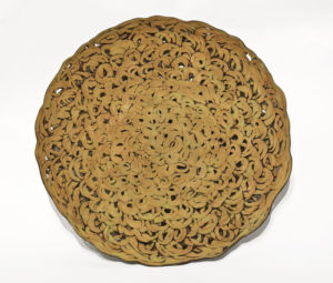 "SOLD Root Plate (LR-226) by Laurie Rolland hand-built ceramic – 1 1/2"" (H) x 16"" (diameter) $350"