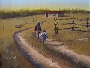 """Alexis & Stacey -- Late as Usual"" by Kenneth George Lonechild 14 x 18 - acrylic $875 Framed"