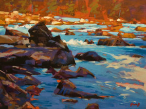 """Alpine Blue Cataract (Kicking Horse River, B.C.),"" by Mike Svob 12 x 16 - acrylic $1415 Unframed"