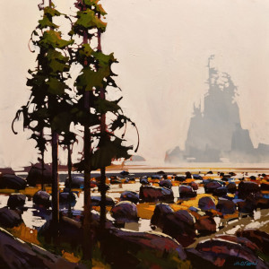 "SOLD ""Atmosphere, West Coast Trail,"" by Michael O'Toole 30 x 30 – acrylic $3400 Unframed"