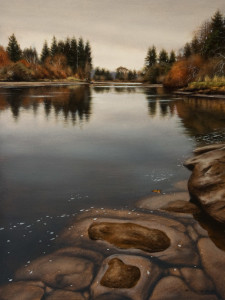 "SOLD ""Autumn's Arrival, Nanaimo River,"" by Ray Ward 9 x 12 – oil $950 Unframed"
