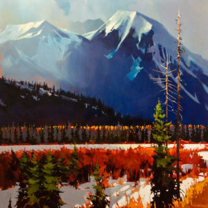 "SOLD ""Banff, Sulpher Mountain – Vermillion Lakes, Winter's Edge,"" by Michael O'Toole 36 x 36 – acrylic $4925 Unframed"