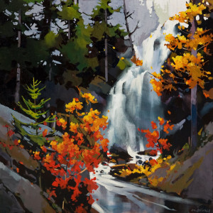 "SOLD ""Bella Falls,"" by Michael O'Toole 30 x 30 – acrylic $3400 (thick canvas wrap without frame)"