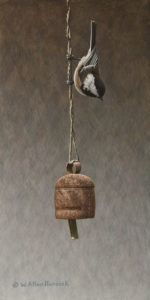 "SOLD ""Bell Inspection – Chestnut-backed Chickadee"" by W. Allan Hancock 7 x 14 – acrylic $1050 Unframed"
