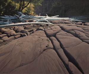 "SOLD ""Bench Rock, Mayne Island,"" by Keith Hiscock 30 x 36 - oil $6800 (thick canvas wrap without frame)"
