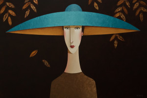 "SOLD ""Bianca in Blue,"" by Danny McBride 24 x 36 – acrylic $3400 Unframed"