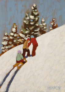 "SOLD ""The Big Hill"" by Paul Healey 5 x 7 - acrylic $250 Unframed $425 in show frame"