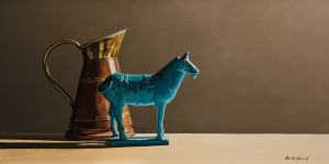 "SOLD ""Blue Horse,"" by Keith Hiscock 12 x 24 – oil $1975 Unframed"