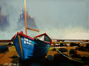 """SOLD """"Boat on Shoreline, West Coast Trail,"""" by Michael O'Toole 9 x 12 – acrylic $710 Unframed"""