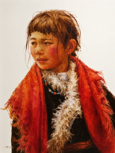 "SOLD ""Bold Scarf,"" by Donna Zhang 30 x 40 – oil $7270 Custom framed $6700 Unframed"
