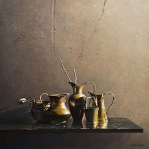 "SOLD ""Brass Ensemble,"" by Keith Hiscock 24 x24 – oil $4250 Unframed"