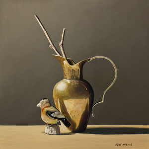 "SOLD ""Brass Pitcher Still-Life I"" by Keith Hiscock 12 x 12 - oil $975 Unframed $1210 in show frame"