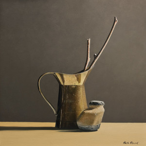 "SOLD ""Brass Pitcher Still-Life II"" by Keith Hiscock 12 x 12 - oil $975 Unframed $1210 in show frame"