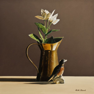 "SOLD ""Brass Pitcher with Ceramic Bird I,"" by Keith Hiscock 12 x 12 – oil $975 Unframed"