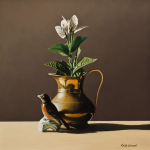 "SOLD ""Brass Pitcher with Ceramic Bird II,"" by Keith Hiscock 12 x 12 – oil $975 Unframed"