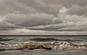 "SOLD ""Breaking,"" by Ray Ward 14 x 22 – oil $1750 Unframed"