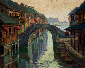"""Bridge Over the Canal,"" by Dongmin Lai 8 x 10 - oil $940 Custom framed $800 in standard frame"