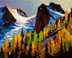 "SOLD ""The Bugaboos in Fall,"" by Michael O'Toole 8 x 10 – acrylic $615 Unframed $745 Custom framed"