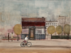 "SOLD ""le café du passant,"" by Louise Lauzon 18 x 24 – acrylic $850 Unframed"