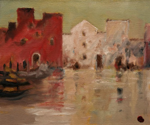 "SOLD ""Calcutta Waterfront"" by H. E. Kuckein 10 x 12 - oil $950 Unframed $1075 in show frame"