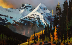"""SOLD """"Cathedral Crossing into B.C.,"""" by Michael O'Toole 30 x 48 – acrylic $5460 Unframed"""