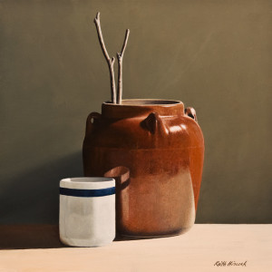 "SOLD ""Ceramic Jug"" by Keith Hiscock 10 x 10 – oil $875 Unframed"