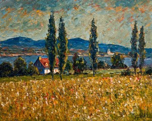 "SOLD ""Le champs aux peupliers (Île d'Orléans Ste Famille),"" by Raynald Leclerc (Fields of Poplars) 24 x 30 – oil $2900 Unframed"
