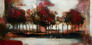 """SOLD """"Champagne Grove,"""" by Heather Haynes 20 x 40 – acrylic $1645 (thick canvas wrap without frame)"""