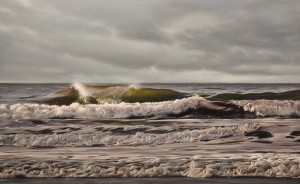 "SOLD ""Cloud Break, Cresting Wave,"" by Ray Ward 16 x 26 – oil $2300 Unframed"