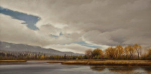 "SOLD ""Cloud Break Over Marshland,"" by Ray Ward 8 x 16 – oil $1100 Unframed"