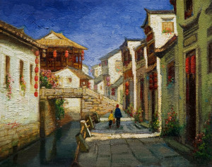 """Cobbled Walk, Yi Xian,"" by Dongmin Lai 8 x 10 - oil $800 Framed"