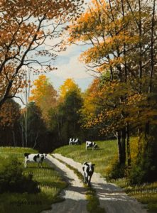 "SOLD ""Cow Trail,"" by Bill Saunders 6 x 8 – acrylic $500 Unframed $675 Custom framed"