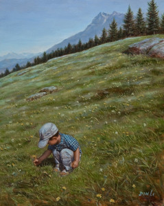 """Daisy Picking,"" by Don Li 8 x 10 - oil $900 Unframed $1100 Custom framed"