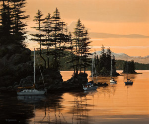 "SOLD ""Day's End,"" by Bill Saunders 20 x 24 – acrylic $2740 Unframed"