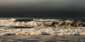 "SOLD ""December Shoreline,"" by Ray Ward 12 x 24 – oil $1650 Unframed"