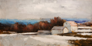 "SOLD ""Dégal Printanier,"" by Robert P. Roy (""Spring Thaw"") 24 x 48 – oil $2550 Unframed"