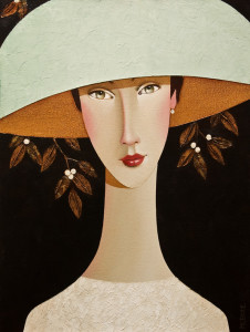 "SOLD ""Delia in Her Mint Hat,"" by Danny McBride 12 x 16- acrylic $1250 Unframed"