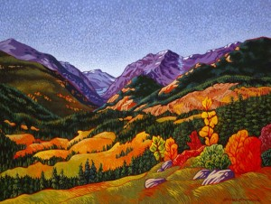 "SOLD ""Early Fall in the Mountains,"" by Michael Stockdale 18 x 24 – acrylic $1060 Unframed"