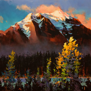 "SOLD ""East of Lake Louise,"" by Michael O'Toole 30 x 30 – acrylic $3640 Unframed"