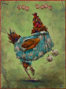 """Egg Cozy,"" by Angie Rees 12 x 16 - acrylic $1075 (panel with 1 1/2"" edging)"