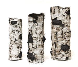 "Ceramic birch sculptures by Bev Ellis 11.5"" (H) to 15"" (H) $125 — $220"