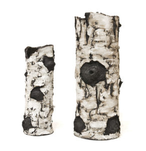 "Ceramic birch sculptures by Bev Ellis 11.5"" (H), 15"" (H) $140, $220"