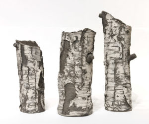"Ceramic birch sculptures by Bev Ellis 9.5"" (H) to 13.5"" (H) $95 — $150"