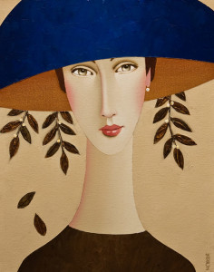 "SOLD ""Evelyn and the Blue Hat,"" by Danny McBride 11 x 14 – acrylic $975 Unframed $1130 Custom framed"