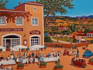 "SOLD ""A Family Gathering in Tuscany,"" by Michael Stockdale 30 x 40 – acrylic $2500 Unframed"