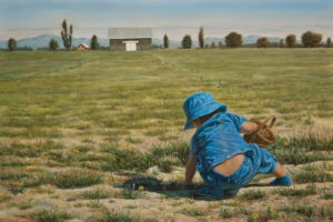 """Farm Field Fun,"" by Don Li 12 x 18 - oil $2000 Unframed"